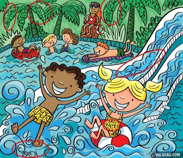 4. Slide (cầu tuột), Split (tách ra), Water (nước), Float (phao), Swim (bơi), Cool (mát mẻ), Wet (ướt).(Ảnh Internet)
