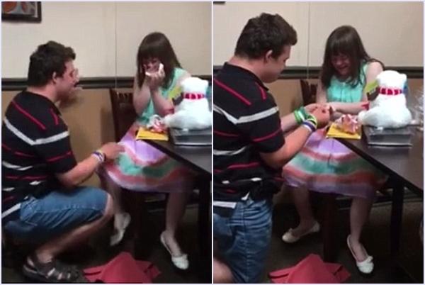 Khi Ashley chưa kịp hết vui mừng vì món quà, người bạn trai Danny đã quỳ một chân xuống và hỏi cô có đồng ý lấy anh hay không.(Ảnh Courtney Greenhalgh)