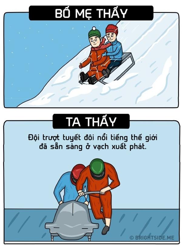 Trong mắt trẻ con không có việc gì là đơn giản, là nhỏ nhặt cả nên việc trượt tuyết cùng nhau chính là đang thi đấu thế giới đấy nhé.