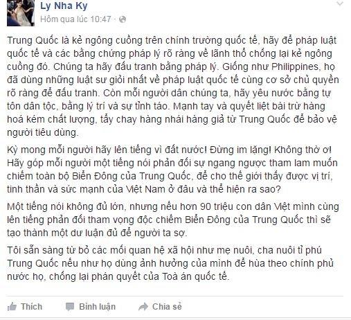 Lý Nhã Kỳ bày tỏ quan điểm trên mạng xã hội. - Tin sao Viet - Tin tuc sao Viet - Scandal sao Viet - Tin tuc cua Sao - Tin cua Sao