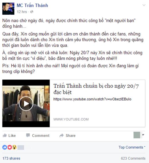 Dòng trạng thái kèm clip do Trấn Thành chia sẻ trên facebook cá nhân vào tối 17/07. - Tin sao Viet - Tin tuc sao Viet - Scandal sao Viet - Tin tuc cua Sao - Tin cua Sao