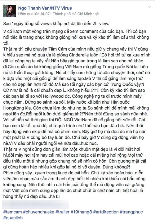 """Ngô Thanh Vân bức xúc trước những chia sẻ đến từ cộng đồng mạng. Ngay lập tức, cô lên tiếng """"phản pháo"""" để bảo vệ """"đứa con"""" trong suổt 2 năm ấp ủ. - Tin sao Viet - Tin tuc sao Viet - Scandal sao Viet - Tin tuc cua Sao - Tin cua Sao"""