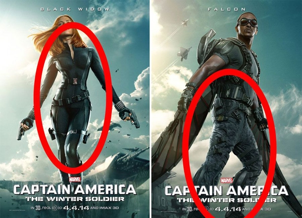 Captain America: The Winter Soldier (2014): Thân trên của Anthony Mackie quá to cắm trên đôi chân quá nhỏ, còn tỉ lệ cơ thể Scarlett Johansson thì khiến cô trông chẳng khác nào một cô búp bê Barbie cả.