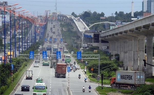 Metro Bến Thành – Suối Tiên chạy song song với Xa lộ Hà Nội. (Ảnh: internet)