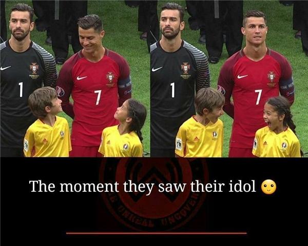 Đó là khoảnh khắc bất ngờ trộn lẫn hạnh phúckhi những đứa trẻ gặp đượcthần tượng của chúng.