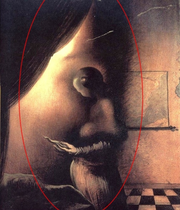 Bạn có hình dung ra được người đàn ông trong ảnh không? Lấy đầu cô gái làm mắt;lưng, ngực cô gái làm mũi; tay, váy cô gái làm miệng và râu, bạn đã nhìn ra chưa?