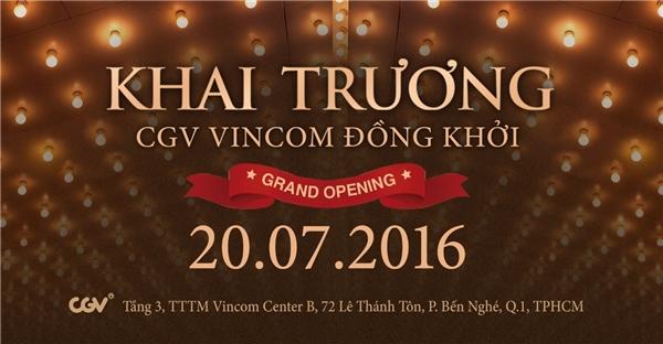 Nhân dịp khai trương, CGV Vincom Đồng Khởi mang đến chương trình Xem Phim Miễn Phí và Vòng Quay Kì Diệu cho tất cả các khán giả yêu phim khi đến tham quan cụm rạp.