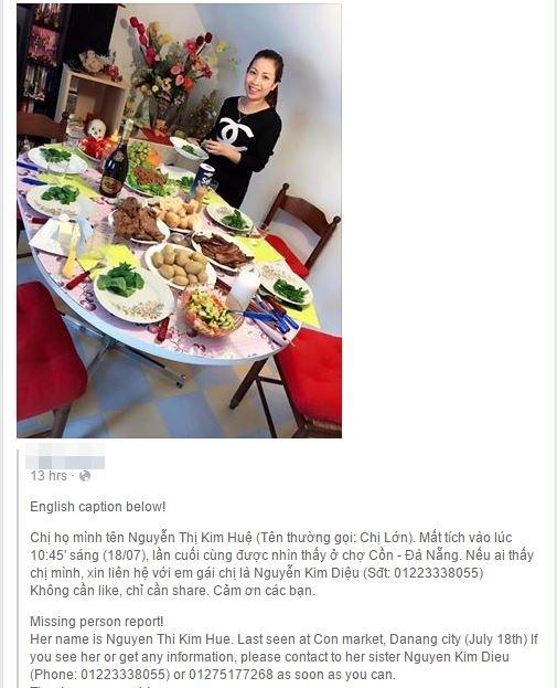 Một trong những lời kêu gọi tìm người thân của người nhà chị Huệ được đăng trên mạng xã hội. (Ảnh chụp màn hình)