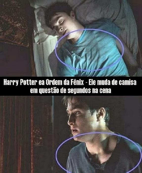 Chiếc áo của Harry Potter trong Mệnh lệnh phượng hoàngđã thay đổi trong hai cảnh nối nhau, từ cổ tròn chuyển thành cổ áo cài cúc.