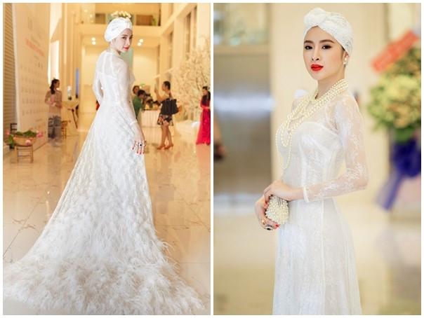 Bên cạnh những lời khen, Angela Phương Trinh phải đối diện với những lời chỉ trích kịch liệt khi diện áo dài phối khăn turban trông lai căn khó hiểu.