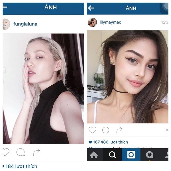 Cô từng tự đăng ảnh của mình và hot girlLily Maymacđể so sánh sự khác biệt.(Ảnh: Internet)