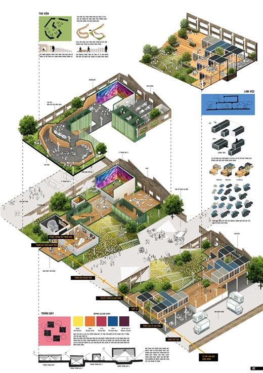 """Giải Nhất Thiết kế kiến trúc NPYDA 2015 với dự án """"Khoảng trống chữa lành khoảng trống""""."""