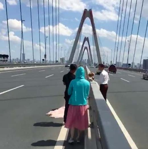 Cặp đôi đứng giữa dải phân cách cầu Nhật Tân chụp hình cưới. (Ảnh: Internet)