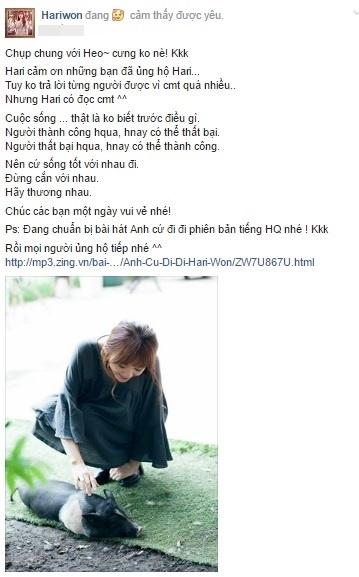 Dòng trạng thái mới nhất của Hari Won trên fanpage. - Tin sao Viet - Tin tuc sao Viet - Scandal sao Viet - Tin tuc cua Sao - Tin cua Sao