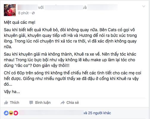 Quản lí truyền thông của Lan Khuê vừa chia sẻ một đoạn status giải thích rõ việcnhầm lẫn khi lên sóng truyền hình.