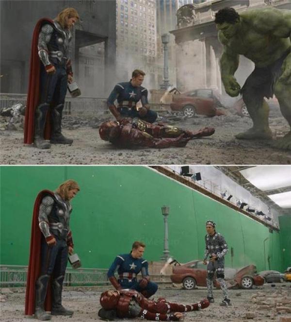 Trong bom tấn tập họp nhiều siêu anh hùng Avengers của Marvel. Anh chàng Khổng Lồ Xanh là một nhân vật hoàn toàn được dựng từ kĩxảo vi tính.