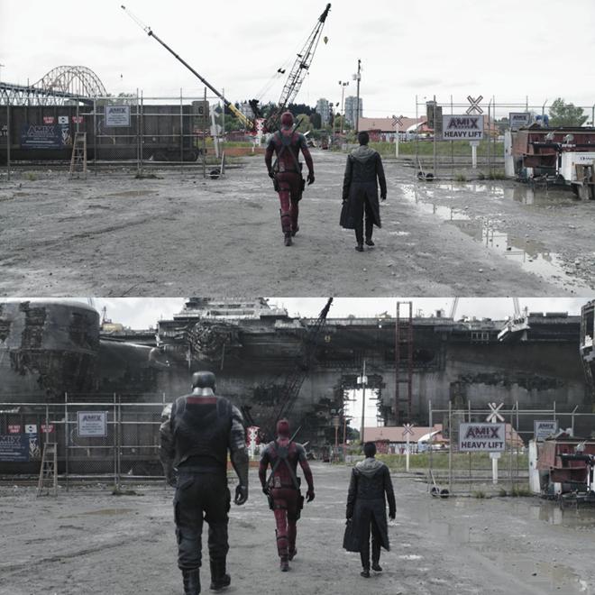 Ở tấm ảnh gốc phía trên có thể thấy, nhân vật siêuanh hùng chỉ cần bước đi bên người đồng hành và phía trước làcác thiết bị xây dựng. Sau đóthêm thắt chút kĩxảo thay đổibối cảnh vàbổ sungnhân vật là ra một cảnh tượng hoành tráng khác biệt liền.