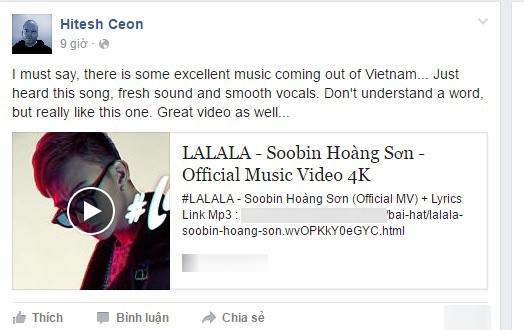 Hiteshchia sẻ MV Lalala của Soobin Hoàng Sơn trên trangcá nhân cùng nhiều lời khen ngợi.