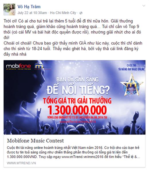 """""""Gương mặt thân quen"""" Võ Hạ Trâm tỏ ra tiếc nuối vì đã quá tuổi dự thiMobiFone Music Contest MMC 2016."""