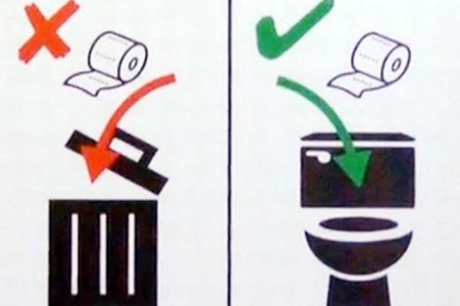 Dù nắp thùng rác có hé mở mời gọi thế nào cũng cương quyết vứt giấy vệ sinh vào bồn cầu nghe.