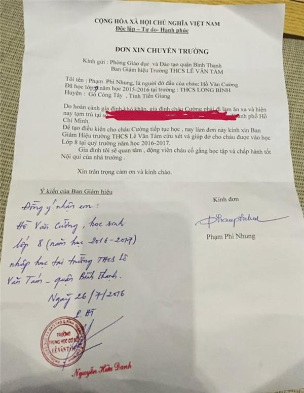 Tờ đơn xinnhập học được Phi Nhung chuẩn bịđể chuyển trường cho Hồ Văn Cường. - Tin sao Viet - Tin tuc sao Viet - Scandal sao Viet - Tin tuc cua Sao - Tin cua Sao