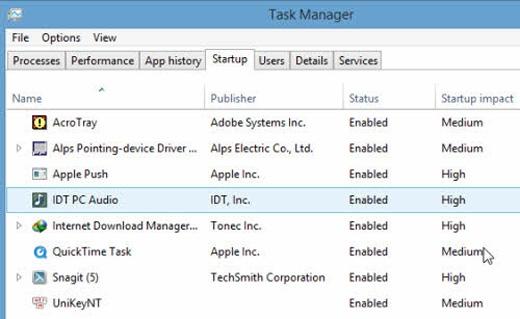 Vào Task Manager, chọn thẻ Startup vàvô hiệu hóa các tác vụ không cần thiết mỗi lần khởi động máy.
