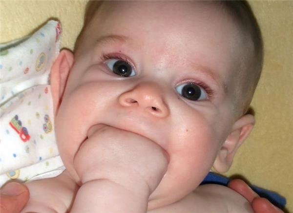 Trẻ con rất hay làm trò này khi chúng mọc răng hoặc khi khám phá ra rằng chúng có... tay.