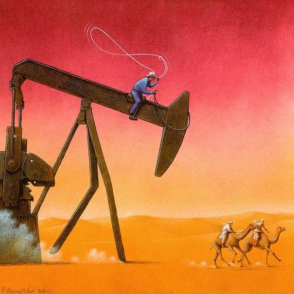 Ngay cả những vùng đất khô cằn như sa mạc cũng bị máy móc xâm chiếm.