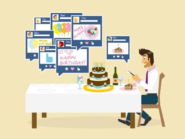 Facebook tự động gửi lời chúc mừng sinh nhật. (Ảnh: internet)