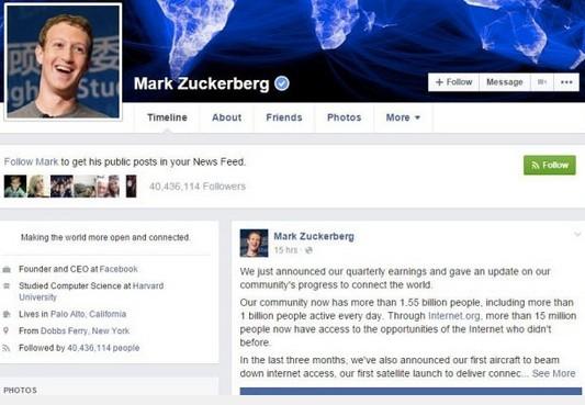 Tài khoản cá nhân của Mark Juckerberg là một trang đặc biệt. (Ảnh: internet)