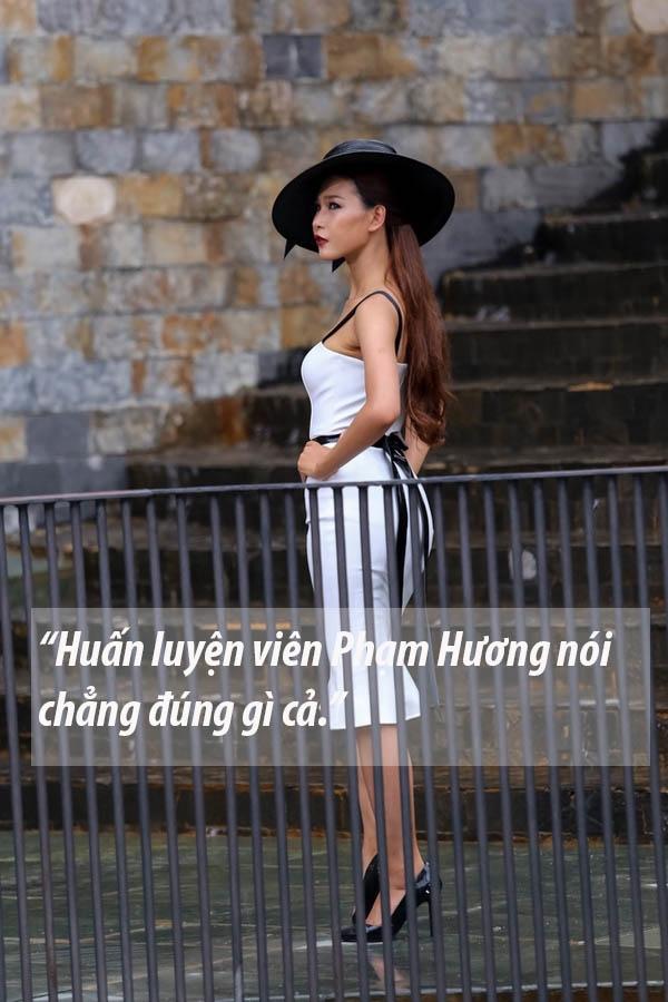 Cô sẵn sàng đáp trả lại Phạm Hương khi bị nhận xét không giữ được bình tĩnh trong thử thách catwalk trên bậc thang.