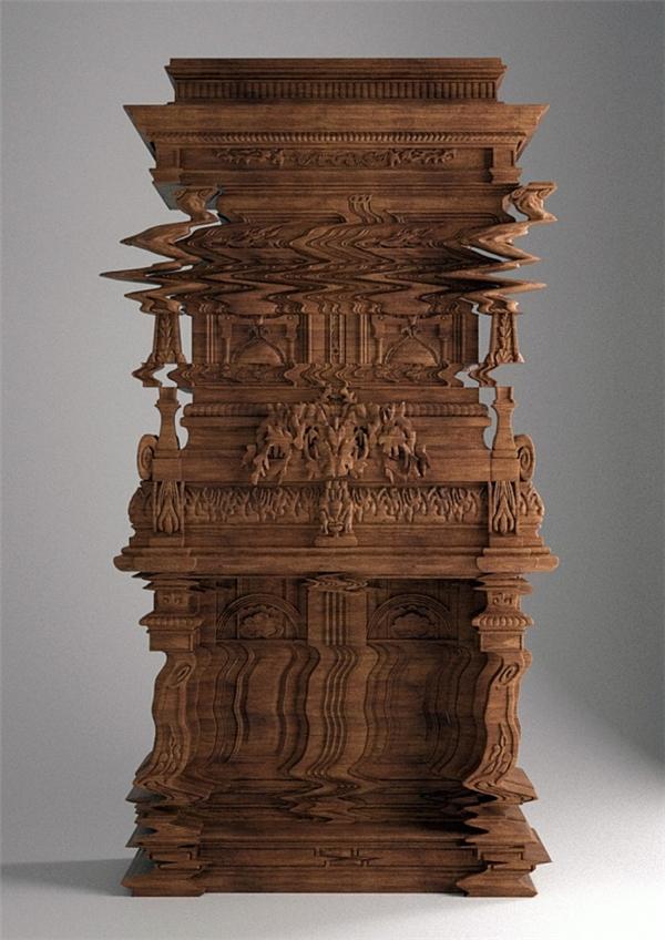 Chiếc tủ được chạm khắc tinh xảo đến mức trông y hệt như một hình ảnh bị biến dạng.