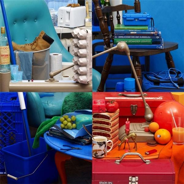 Cách sắp xếp vô cùng ảo diệu các món đồ trong bức hình khiến nó trông như 4 khung hình được ghép lại với nhau.