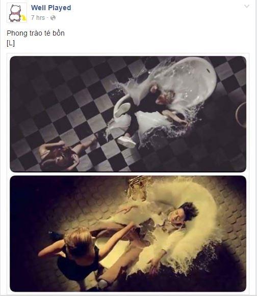 Một trang fanpage giải trí ghép 2 cảnh té bồn của Sơn Tùng và nhóm Big Bang cho rằng đây là trào lưu. - Tin sao Viet - Tin tuc sao Viet - Scandal sao Viet - Tin tuc cua Sao - Tin cua Sao