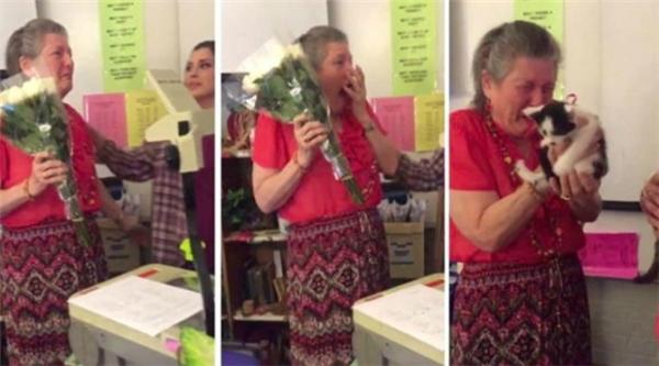 Khoảnh khắc cô giáo vỡ òa trong xúc động khi nhận quà từ học sinh.(Ảnh: Internet)