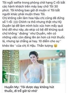 """. Tài khoản này còn trích dẫn bài báo với nội dung""""Huyền My: """"Tôi được dạy không hút thuốc, đi trễ giờ từ nhỏ"""". - Tin sao Viet - Tin tuc sao Viet - Scandal sao Viet - Tin tuc cua Sao - Tin cua Sao"""