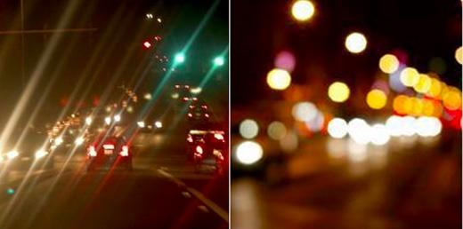 Đi dưới ánh đèn lúc trời tối mà không đeo kính thì sẽ chỉ nhìn thấy mọi thứ mờ mờ ảo ảo như thế này.