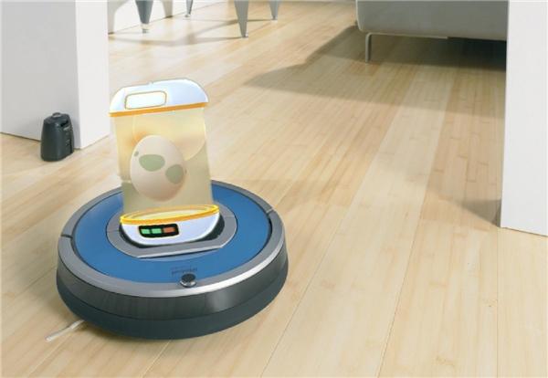 Hoặc dán điện thoại vào con robot hút bụi này để nó ấp trứng dùm, đỡ tốn sức. (Ảnh: internet)