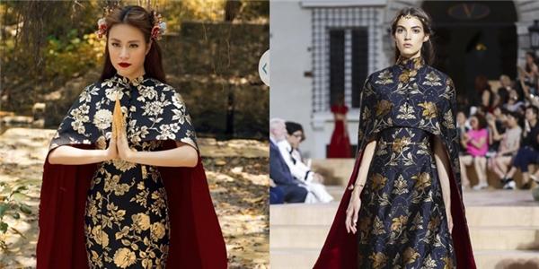 Cả hai đều sử dụng tông màu vàng, đen làm chủ đạo kết hợp giữa váy bên trong và áo choàng bên ngoài. Điểm khác biệt là phần chân váy, nếu như nhà mốt trứ danh dử dụng phom xòe thì thiết kế mà Hoàng Thùy Linh diện lại là đuôi cá gợi cảm, hiện đại.