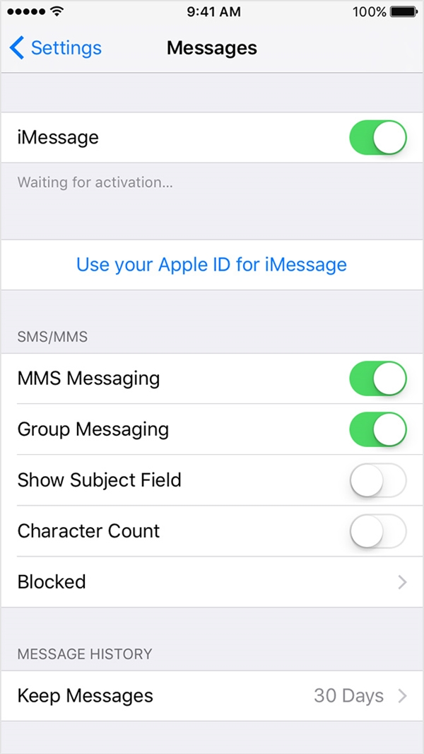iMessage xuất hiện dòng Waiting for activation. (Ảnh: internet)