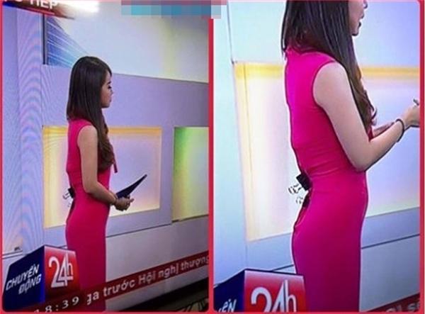 MC Trúc Mai của chương trình Chuyển động 24h dùng chiếc cặp tài liệu ghim váy để có thân hình chữ S.