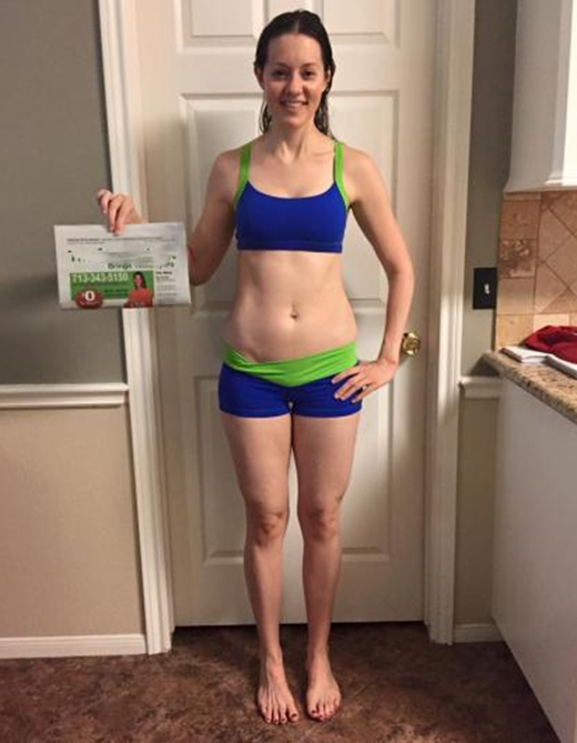 Sau 4 năm thực hiện chế độ dinh dưỡng cùng các chuyên gia, kết hợp với việc tập luyệncô nàng đã giảm hơn 18kg.