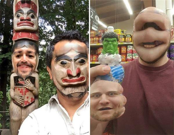 Hái người đàn ông cứ như đang đeo mặt nạ, cũng thú vị đấy chứ.