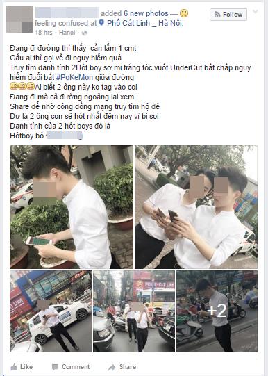 Toàn bộ bài đăng về hai thanh niên áo trắng bắt Pokémon giữa phố ở Hà Nội sáng nay.(Ảnh: Facebook)