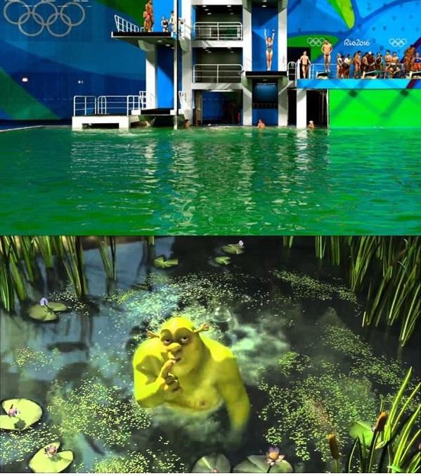 Tin nóng: Shrek xì hơi làm nước hồ bơi Olympic chuyển màu.