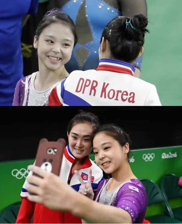 """Tấm ảnh """"tự sướng"""" đi vào lịch sử nhân loại:Vận động viên thể dục dụng cụ Nam Hàn và Bắc Hàn trong cùng một bức ảnh. Đây chính là tinh thần của Olympic, gắn kết cả thế giới lại với nhau."""