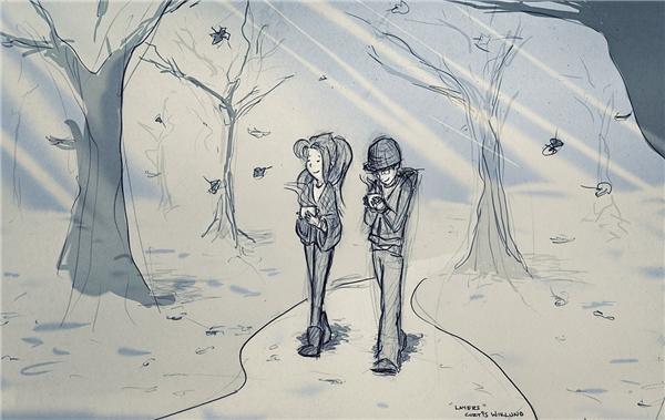 """Những lần 2 ta đi dạo trong lúc trời đầy gió, bọn mình trông chẳng khác gì 2 chú gấu cả, quần áo """"chằng chịt"""" khắp cả người. Nhưng có ai biết trong lòng chúng tađang rất ấm áp."""