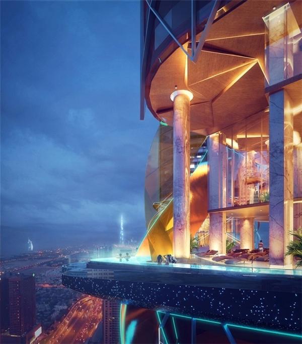 Đây là một tổ hợp hai tòa nhà, tổng diện tích hơn 1,02 triệu mét vuông, gồm một khách sạn 53 tầng và một tòa chung cư 55 tầng, nằm trên đường Sheik Zayed, khu vực sầm uất nhất Dubai.