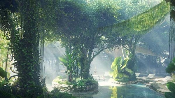 """""""Khu rừng nhiệt đới rộng gần 7.000 m2 ngoài trời bao gồm một bể bơi cảm giác mạnh và bãi biển nhân tạo không cát, một quán cà phê, một con suối, cùng với khu vực trò chơi mạo hiểm dành cho trẻ em"""", DJ Armin, đối tác quản lý của ZAS cho biết."""