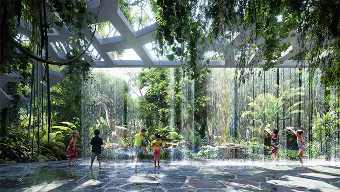 Khu rừng nhiệt đới nằm dưới chân hai tòa tháp, chứa đầy các loại thực vật kỳ lạ.